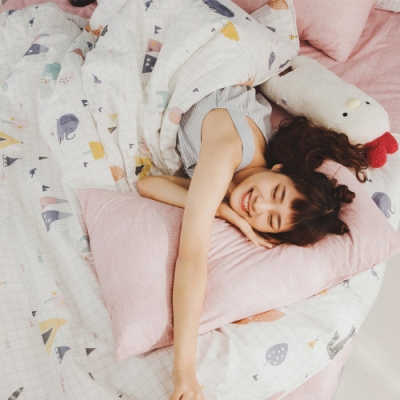 絲薇諾 MIT精梳純棉  白日夢櫻粉  雙人5尺-床包鋪棉被套四件組