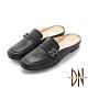 DN穆勒鞋_MIT真皮雙皮帶造型休閒穆勒鞋-黑 product thumbnail 1