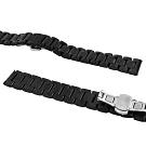 Watchband / 各品牌通用 蝴蝶雙壓扣 不鏽鋼錶帶-鍍黑