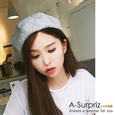 A-Surpriz 韓風細斜紋混毛呢畫家帽(白灰)