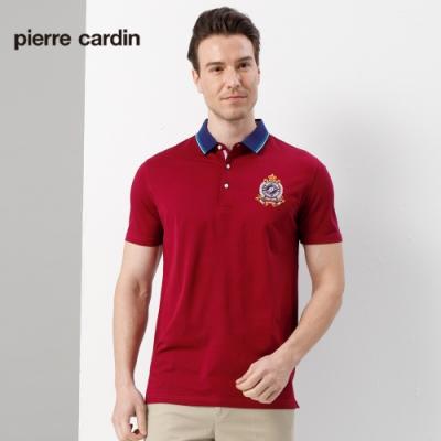 Pierre Cardin皮爾卡登 男裝  素色網眼短袖POLO衫-酒紅色(5187267-29)