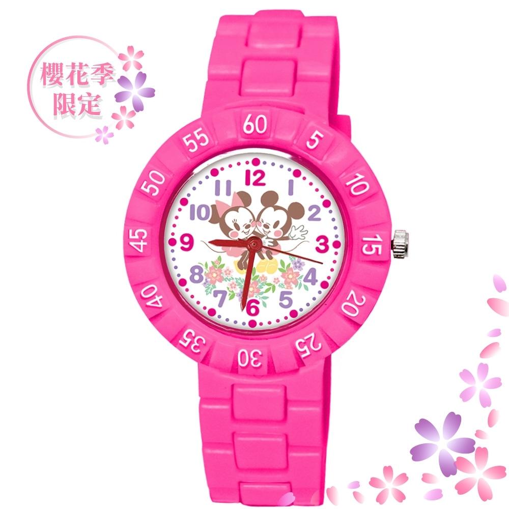 DISNEY迪士尼 櫻花季限定手錶Q版蹭蹭臉頰米奇米妮34mm桃紅色