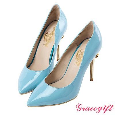 Grace gift-美少女戰士變身器漆皮細高跟鞋 藍