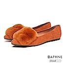 達芙妮DAPHNE 平底鞋-軟毛絨布金屬別飾平底鞋-棕