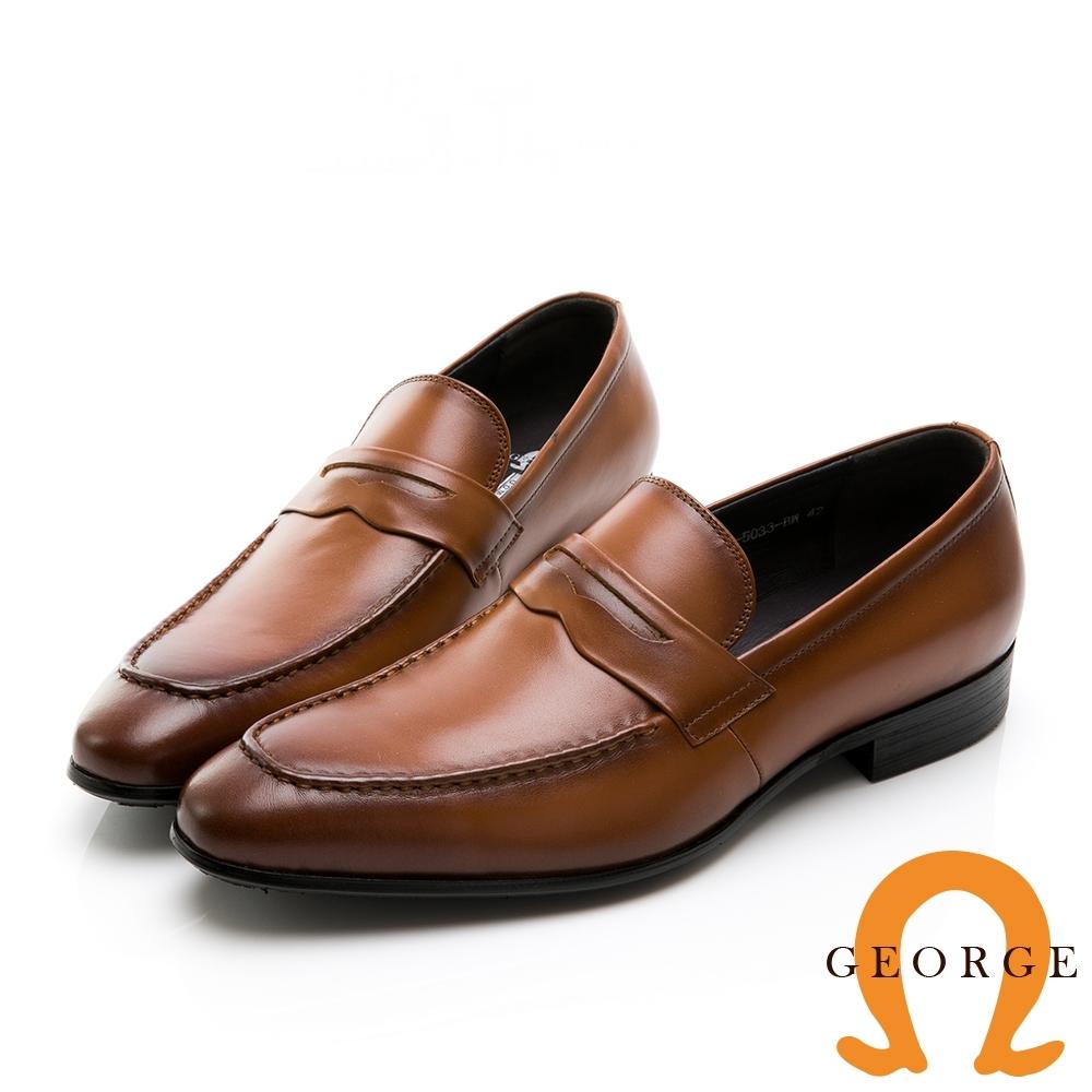GEORGE 喬治皮鞋 氣墊系列 經典素面真皮核心氣墊紳士鞋-棕色