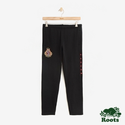 ROOTS女裝 周年系列色塊刷毛休閒棉褲-黑色