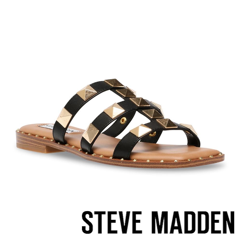 STEVE MADDEN-TARTS 鉚釘三帶涼拖鞋-黑色