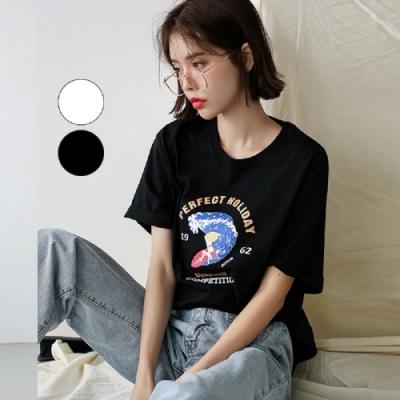 T恤 圓領個性印花短袖T恤TK00710-創翊韓都