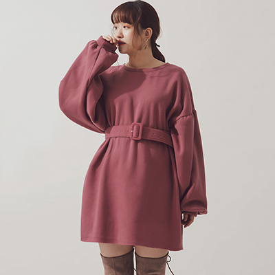 AIR SPACE PLUS 純色內刷毛落肩衛衣洋裝(附腰帶)(粉紅)