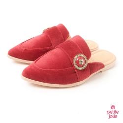 PJ-金屬徽章絨布穆勒鞋-紅色