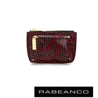 RABEANCO 迷時尚系列雙拉鍊零錢包(大) 紅/黑