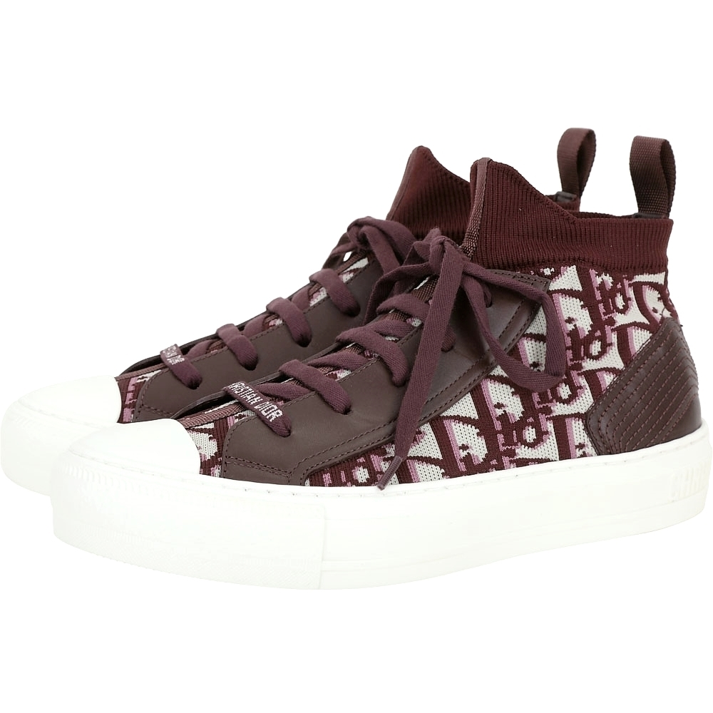 Dior Oblique Walk'n' 科技針織拼接頂級小牛皮中筒帆布鞋(深莧紅/37號)