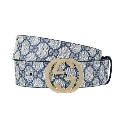 GUCCI 經典PVC雙G LOGO金屬金扣皮帶(灰藍)