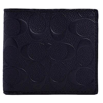 COACH浮水壓紋Logo質感皮革八卡短夾-貴氣黑(附可拆式證件夾)