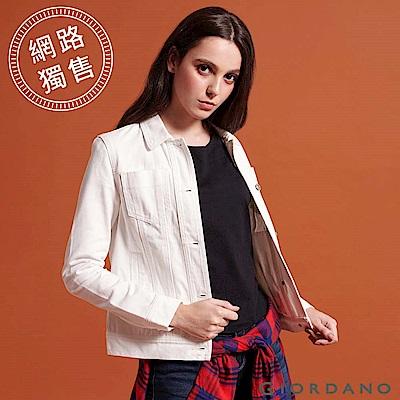 GIORDANO 女裝白色仿舊多口袋牛仔外套-16 皎雪