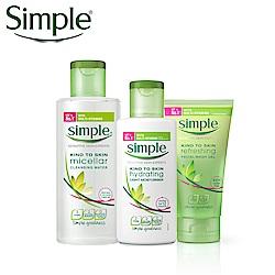 Simple清妍 三步驟洗卸保養組_清透保濕組