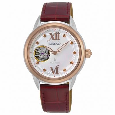 SEIKO 精工LUKIA經典機械錶珍珠母貝鱷魚皮錶(SSA790J1)