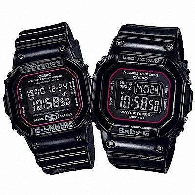 G-SHOCK 愛情鑰匙卡西歐對錶-黑/42.8+40mm