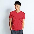 101原創 經典水洗原色圓領素T恤-男女適穿-玫瑰紅