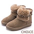 CHOiCE 暖暖時尚 牛皮鉚釦皮帶毛毛雪靴-可可