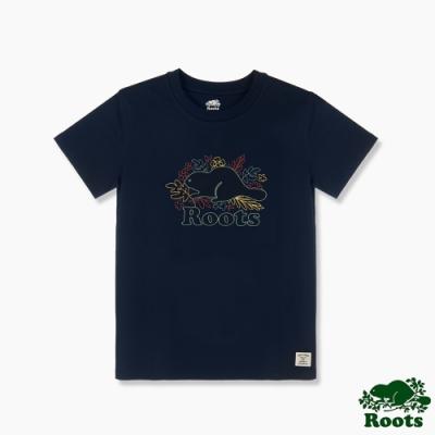 Roots 女裝- 環保有機棉系列 花草海狸LOGO短袖T恤-藍色