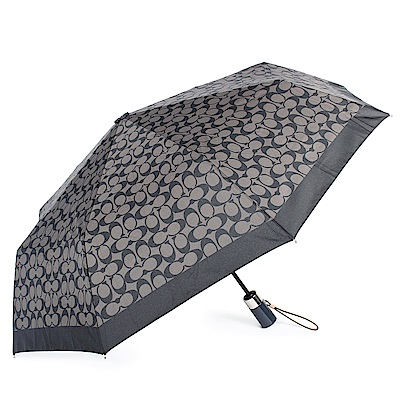 COACH 經典滿版C LOGO圖案全自動開闔晴雨傘-黑灰色