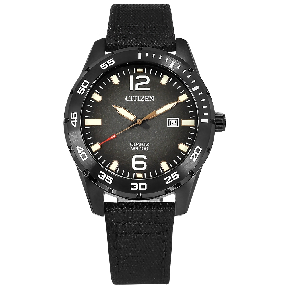 CITIZEN 經典風格 防水100米 日本機芯 日期顯示 帆布手錶(BI1045-05E)-黑色/42mm
