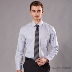 ROBERTA諾貝達 台灣製 合身版 商務型男 暗條紋長袖襯衫 灰色