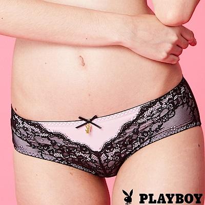 PLAYBOY內褲 甜美黑天鵝蕾絲平口褲-2入組(PL222804)