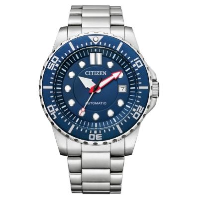 CITIZEN Mechanical 都會紳士機械腕錶-銀X藍-NJ0121-89L-43mm