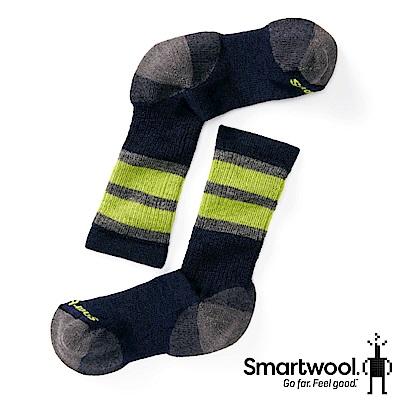 SmartWool 孩童健行中級避震條紋中長襪 海軍藍