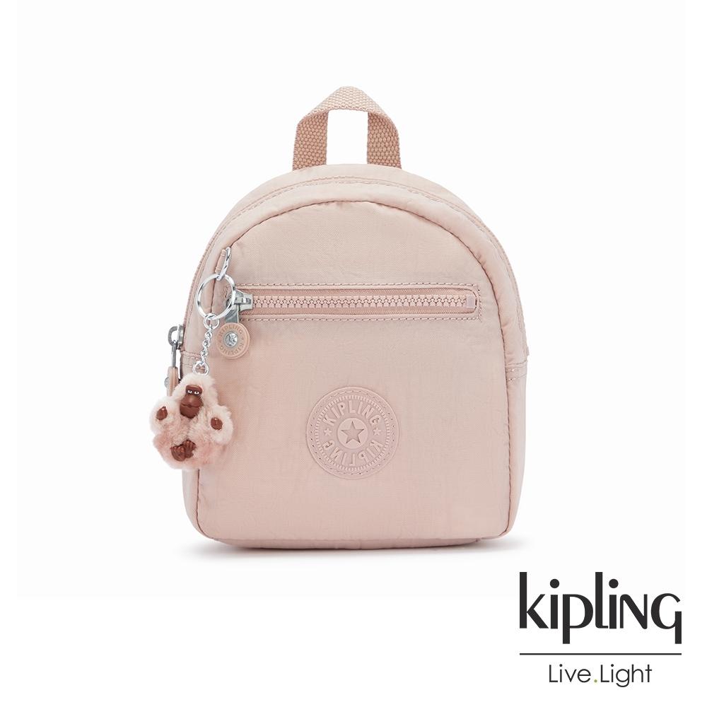 Kipling 氣質玫瑰粉簡約時尚拉鍊後背包-WINNIFRED