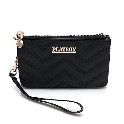PLAYBOY- 零錢包附手挽帶  香榭大道系列-個性黑零錢包附手挽帶