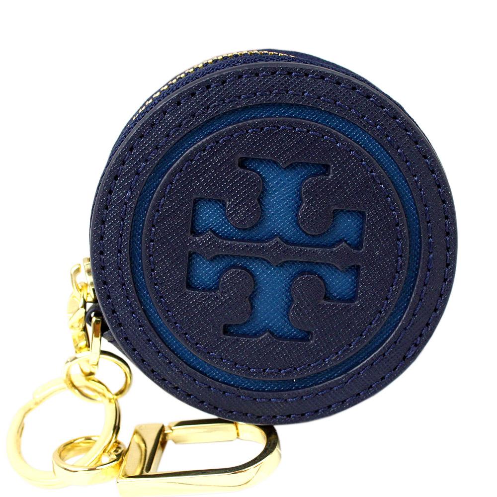 TORY BURCH雙T標誌圓型防刮皮革鑰匙零錢包(靛藍)
