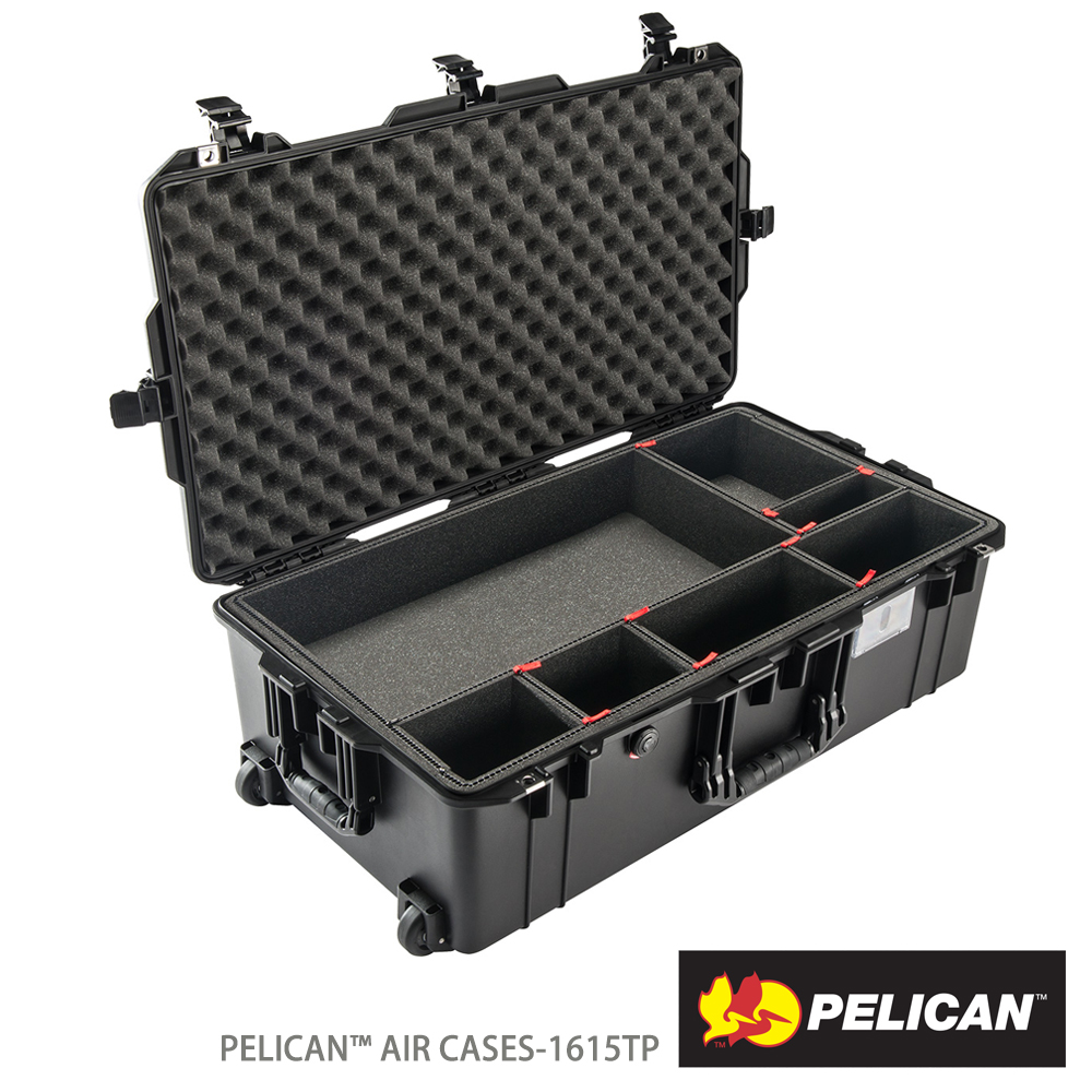 美國 PELICAN 1615AirTP 輪座拉桿超輕氣密箱-含TrekPak 隔板(黑)