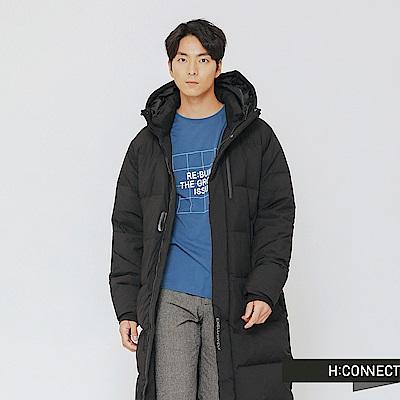 H:CONNECT 韓國品牌 男裝-極暖連帽長版羽絨外套-黑