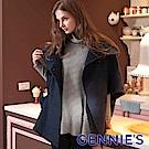 Gennies專櫃-經典百搭寬鬆斗篷毛呢外套(藍)C6803