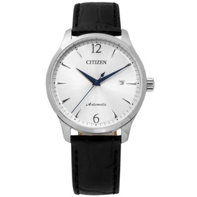 CITIZEN 限量款 機械錶 自動上鍊 日期顯示 小牛皮壓紋手錶-銀x黑/40mm