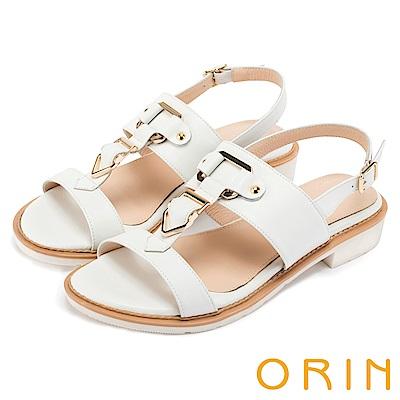 ORIN 夏日簡約時尚 皮帶釦環牛皮低跟涼鞋-白色