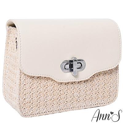 Ann'S甜美純潔-手工藤編珍珠鍊肩背小方包-米白