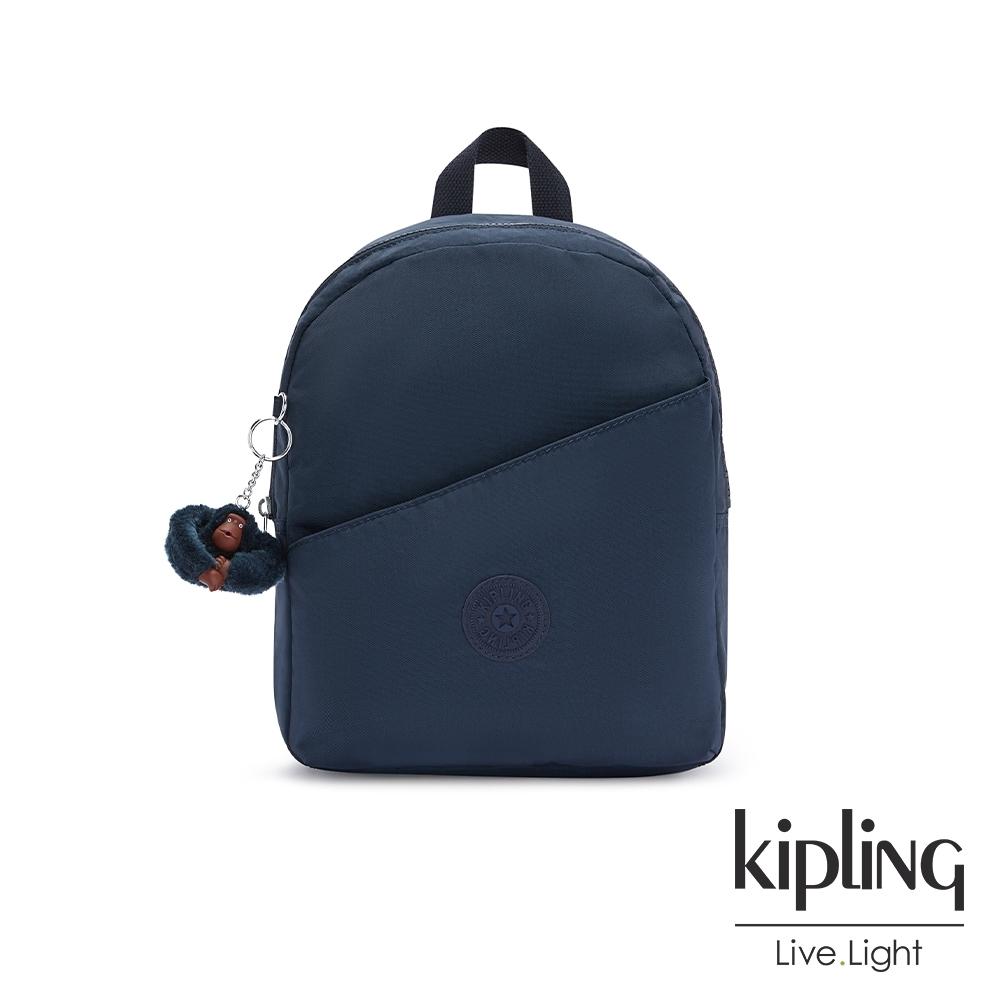 Kipling 沉穩素面藍時尚好收納後背包-CORY