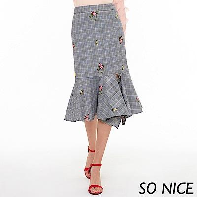 SO NICE時尚繡花葛倫格紋魚尾裙