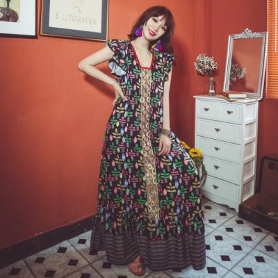 民族風花瓣袖復古繽紛繡花洋裝S-XL(共二色)-維拉森林