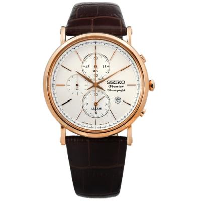 SEIKO 精工 Premier 藍寶石水晶 計時 真皮手錶-米白x玫瑰金x咖啡/41mm