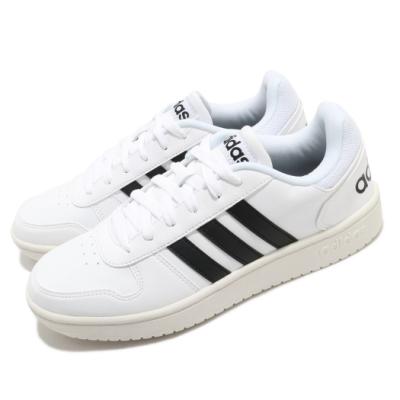 adidas 休閒鞋 Hoops 2 復古 男鞋 愛迪達 奶油底 穿搭 基本款 上學 白 黑 EG3970