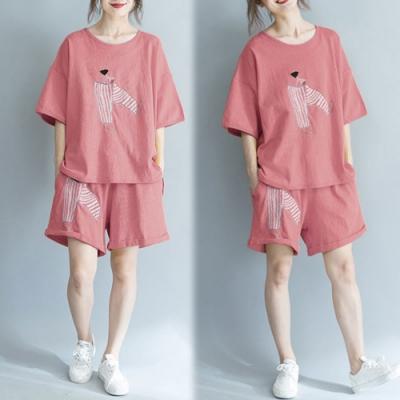 【韓國K.W.】(預購)甜美可愛印花寬鬆運動休閒套裝褲-3色