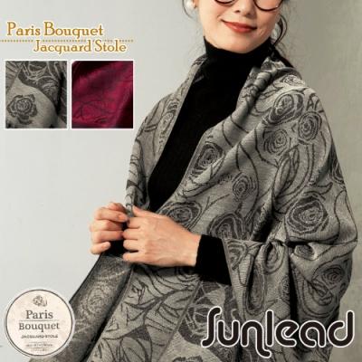 Sunlead 法式優雅花朵織紋保暖緹花圍巾/披肩