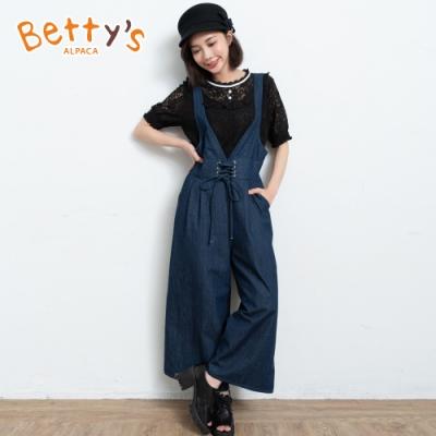betty's貝蒂思 鬆緊腰圍連身牛仔褲(深藍)