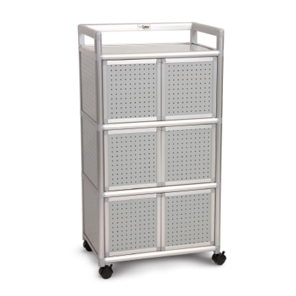 Cabini小飛象-黑花格1.8尺鋁合金6門收納櫃60.4x41.1x115.3cm