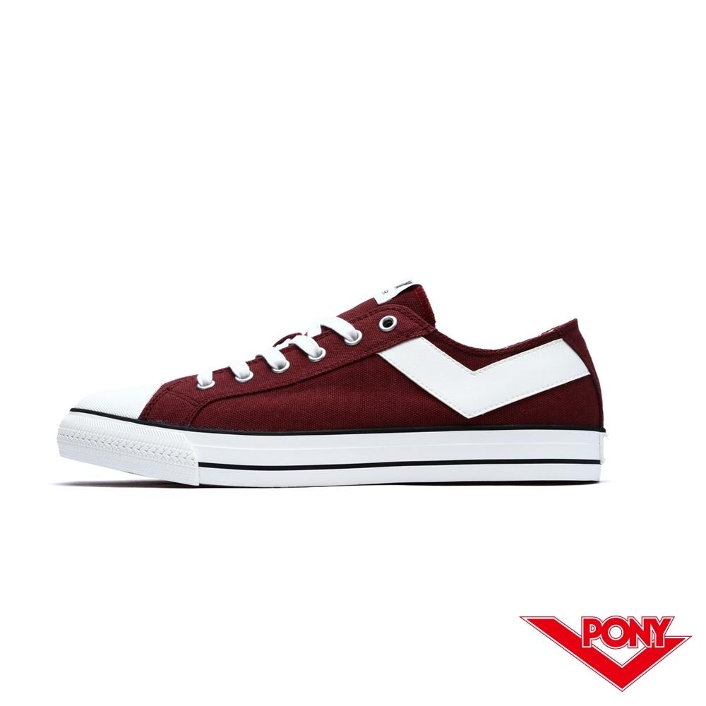 【PONY】Shooter系列百搭復古經典帆布鞋 休閒鞋 女鞋 酒紅色